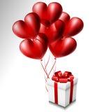 Serce balon ustawiający z prezenta pudełkiem royalty ilustracja