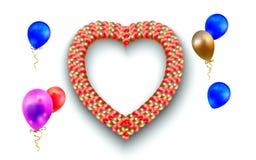 Serce balony na bielu i rama ilustracja sercowata rama i różni balony odizolowywający na bielu Zdjęcia Royalty Free