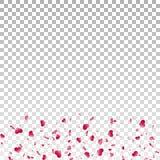 Serce confetti spada odosobniony bia?y przejrzysty t?o Czerwoni spadk?w serca Walentynki dekoracja Mi?o?? element ilustracji