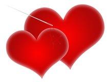 serce czerwień dwa Obrazy Royalty Free