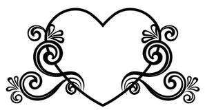Serce dekorujący z kwiecistym ornamentem zdjęcie stock