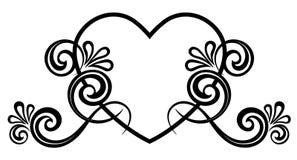 Serce dekorujący z kwiecistym ornamentem obrazy stock