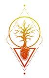 Serce, drzewo jako symbol życie Zdjęcie Royalty Free