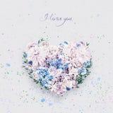 Serce fiołkowy i błękit kwitnie na st valentines dniu Obrazy Stock