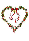 Serce holly z boże narodzenie dekoracją Fotografia Stock