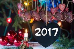 Serce i dekoracje dla nowego roku, 2017 Obrazy Stock