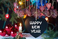 Serce i dekoracje dla nowego roku, 2017 Obraz Royalty Free