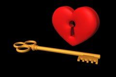 Serce i klucz Obraz Stock