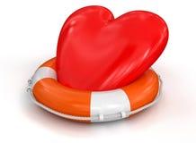 Serce i Lifebuoy (ścinek ścieżka zawierać) Zdjęcia Royalty Free