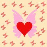Serce i motyl Zdjęcie Royalty Free