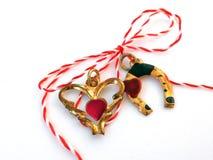 Serce i podkowa z sznurkiem czerwonym i białym Zdjęcia Royalty Free