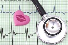Serce i stetoskop na kierowego rytmu wykresie Obrazy Royalty Free