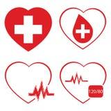 Serce, ikona set, wektor, medycyny ikona i wektor, Obrazy Stock