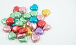 Serce kolorowi czekoladowi cukierki, zdjęcie stock