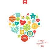 Serce kolorowi inaczej kształtni guziki Zdjęcie Stock