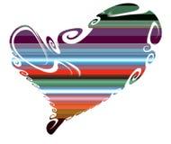 Serce Kolorowy odosobniony serce w figlarnie liniach Obraz Stock