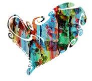 Serce Kolorowy wosk farby serce Obrazy Stock