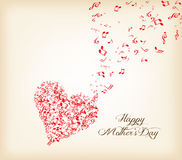Serce kształt z muzyki lata mothers dzień Zdjęcie Stock
