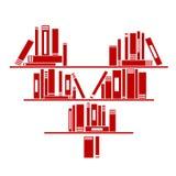 Serce kształtna książkowa półka z książkami Zdjęcia Stock