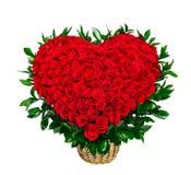 Serce kształtny bukiet czerwone róże Obrazy Stock