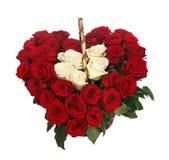 Serce kształtny bukiet czerwone róże Zdjęcie Stock