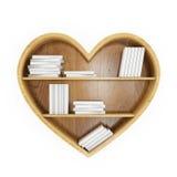Serce kształtował książkową półkę z białymi książkami, serce wiedza, odizolowywający na bielu Obraz Royalty Free