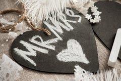 Serce kształtująca chalkboard etykietka Obraz Royalty Free