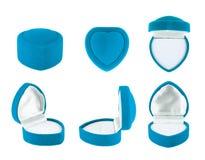 Serce kształtujący aksamita pudełko dla pierścionku Obraz Royalty Free