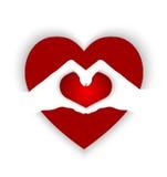 Serce kształtujący na rękach tworzy kierowego kształt ilustracja wektor