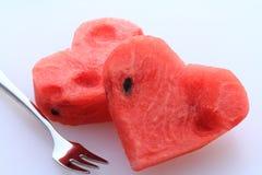 Serce kształtujący wodny melon Zdjęcia Stock