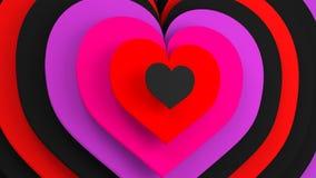 Serce kształtuje abstrakcjonistycznego romantycznego 3D odpłaca się Ilustracji