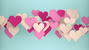 Serce kształtuje abstrakcjonistycznego romantycznego 3D rendering Royalty Ilustracja