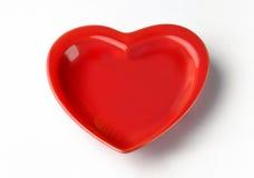 Serce kształtujący talerz Obrazy Stock