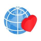 Serce kuli ziemskiej 3d isometric ikona Zdjęcia Royalty Free