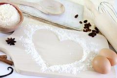 Serce mąki wypiekowy tło Zdjęcie Royalty Free