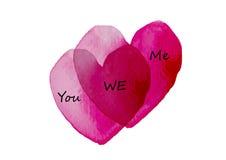 Serce, miłość symbolu dwa serca skrzyżowanie z akwarelą, Wektorowa ilustracja Obraz Stock