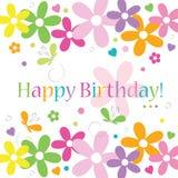 Serce motyli i kwiatów wszystkiego najlepszego z okazji urodzin karta Zdjęcia Royalty Free