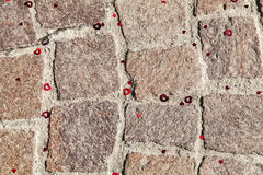 Serce na betonowym brukarzu blokuje dobrego dla valentine Obraz Royalty Free