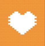 Serce na dzień ściana z cegieł - Walentynka dzień Zdjęcia Stock