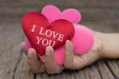 Serce na kobiety ręce na drewnianym tle zdjęcia royalty free