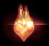 Serce na ogieniu z racą Zdjęcie Stock