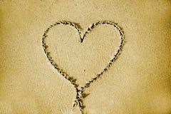 Serce na piasku Zdjęcia Stock