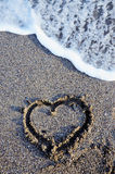 Serce na plaży Fotografia Royalty Free