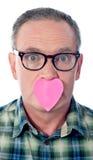 serce nad papierem jego męski usta Zdjęcie Royalty Free
