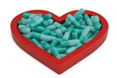 Serce od medycyn pigułek kapsuł pastylek medycyn dla kierowej choroby pojęcia ilustracja 3 d royalty ilustracja