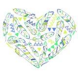 Serce od piórek w navajo stylu, wektorowa ilustracja Zdjęcie Stock