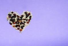 Serce od wysuszonych kwiatów Fotografia Stock