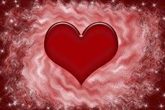 Serce op een abstracte rode achtergrond Stock Foto