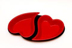 serce piękna czerwień dwa Zdjęcia Royalty Free