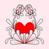 Serce praforma, dekoracyjni kwiaty ilustracja wektor